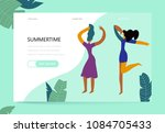 vector illustration of dancing... | Shutterstock .eps vector #1084705433