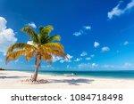 idyllic tropical beach on...   Shutterstock . vector #1084718498