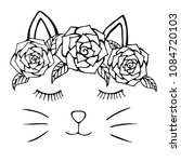 cat hand drawn and flowers ... | Shutterstock .eps vector #1084720103