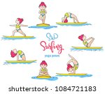 paddle board yoga poses  sup... | Shutterstock . vector #1084721183