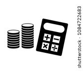calculator and stack of coins... | Shutterstock .eps vector #1084722683