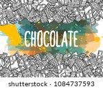 chocolate doodle background | Shutterstock .eps vector #1084737593