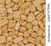 chocolate doodle seamless... | Shutterstock .eps vector #1084737599