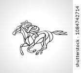 horseman rider in big sombrero...   Shutterstock .eps vector #1084742714