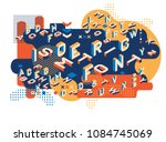 colored letters memphis style.... | Shutterstock .eps vector #1084745069