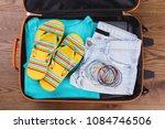 women summer beach clothes in... | Shutterstock . vector #1084746506