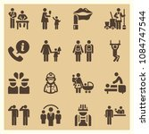 set of 16 people filled icons... | Shutterstock .eps vector #1084747544