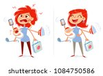multitasking mom and housewife. ... | Shutterstock .eps vector #1084750586