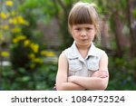 pretty funny moody little blond ... | Shutterstock . vector #1084752524