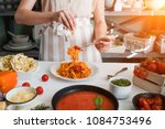 italian style pasta dinner.... | Shutterstock . vector #1084753496