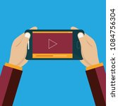 video on smart phone icon.... | Shutterstock .eps vector #1084756304