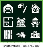 set of 9 buildings filled icons ... | Shutterstock .eps vector #1084762109