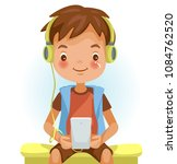 boy using phone. listening to... | Shutterstock .eps vector #1084762520