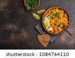 vegan sweet potato chickpea... | Shutterstock . vector #1084764110