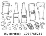 vector set of monochrome beer... | Shutterstock .eps vector #1084765253