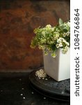 Small photo of Japanese philosophy Wabi Sabi background. White small flowers with falling petals in a white pot on vintage rusty metal background. selective focus