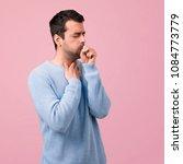 handsome man is suffering with... | Shutterstock . vector #1084773779