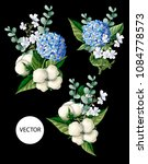 bouquet  with hortensia  cotton ... | Shutterstock .eps vector #1084778573