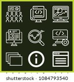 set of 9 web outline icons such ... | Shutterstock .eps vector #1084793540