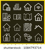 set of 16 home outline icons... | Shutterstock .eps vector #1084793714