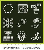 set of 9 coin outline icons...   Shutterstock .eps vector #1084808909