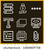 set of 9 web outline icons such ... | Shutterstock .eps vector #1084809758