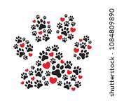Stock vector paw print filled with paw prints and hearts animal s dog s paw print love your pet love to 1084809890