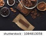 chocolate background. milk... | Shutterstock . vector #1084813058