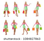 woman with shopping bags... | Shutterstock . vector #1084827863