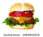 traditional hamburger with... | Shutterstock . vector #1084842818