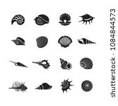 sea shells icon set isolated on ... | Shutterstock .eps vector #1084844573