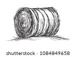 haystack rolled up lying in the ... | Shutterstock .eps vector #1084849658
