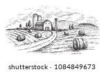 rural landscape field wheat in...   Shutterstock .eps vector #1084849673