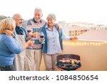 happy senior friends having fun ... | Shutterstock . vector #1084850654