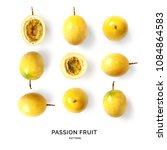 Small photo of Seamless pattern with passion fruit. Tropical abstract background. Passion fruit on the white background.