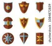 set of medieval shield and... | Shutterstock .eps vector #1084872839