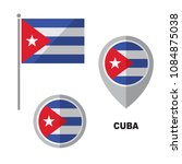 cuba flag and map pointer... | Shutterstock .eps vector #1084875038