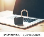 lock on laptop as computer... | Shutterstock . vector #1084880006