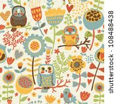 Stock vector cute colorful floral seamless pattern with owl and bird 108488438