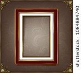 vintage photo frame on wooden... | Shutterstock .eps vector #1084884740