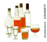 set of brandy and vodka bottles ... | Shutterstock . vector #108488879