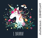 unicorn card design | Shutterstock .eps vector #1084891649