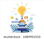 knowledge online. illustration... | Shutterstock .eps vector #1084901510