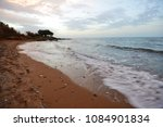 beach on sea shore. sea wave ... | Shutterstock . vector #1084901834