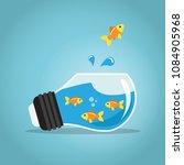 golden fish jumping outside the ...   Shutterstock .eps vector #1084905968