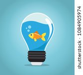one golden fish swimming in the ...   Shutterstock .eps vector #1084905974