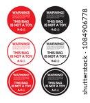 plastic bag warning sticker...   Shutterstock .eps vector #1084906778