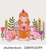 cute little girl with crown... | Shutterstock .eps vector #1084910399