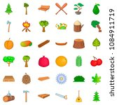 Bonsai Icons Set. Cartoon Styl...