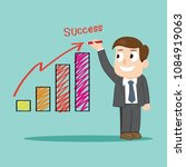 businessman write success graph ... | Shutterstock .eps vector #1084919063